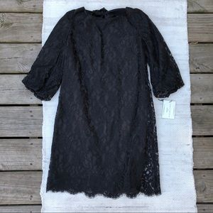 NWT Annie Griffin 3/4 sleeve black lace dress
